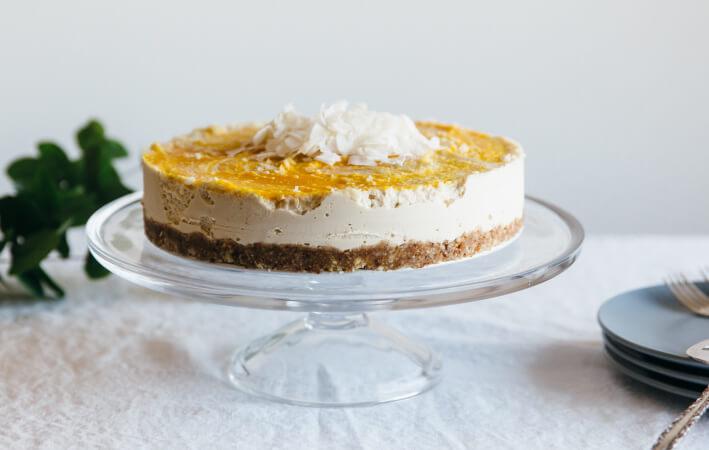 Raw Coconut Macadamia Mango Cheesecake (dairy-free, gluten-free)