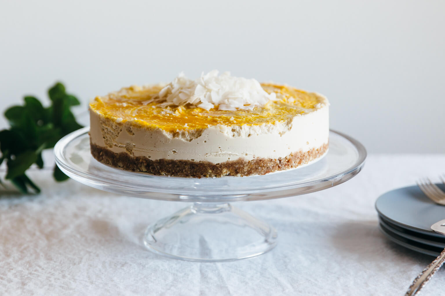 Raw coconut, macadamia and mango cheesecake. Gluten-free, dairy-free, paleo.