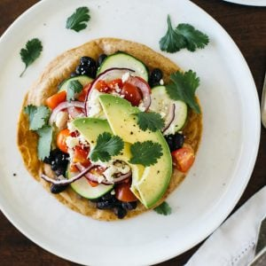 (gluten-free) Black bean Mexican pizza on cassava flour tortillas. A healthy, vegetarian version of a Mexican pizza.