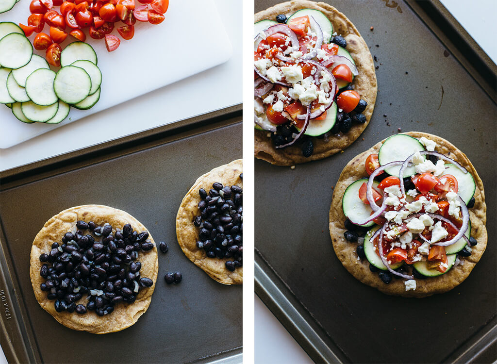 Black bean Mexican pizza on cassava flour tortilla. Gluten-free, grain-free, vegetarian.