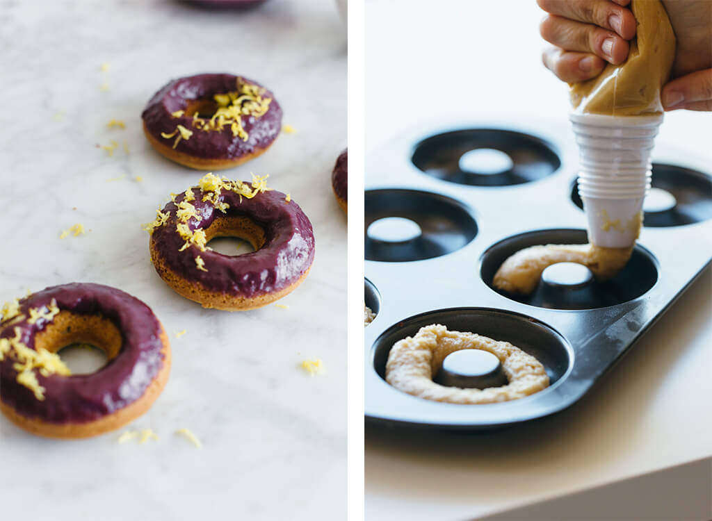 Baked lemon donuts with blackberry glaze. Gluten-free and paleo.