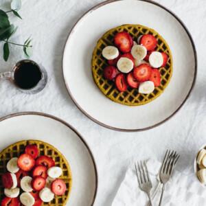 (gluten-free, vegan) Super seed buckwheat waffles. Nutrient-dense waffles made from buckwheat flour, sunflower seeds, pumpkin seeds and flax seeds.