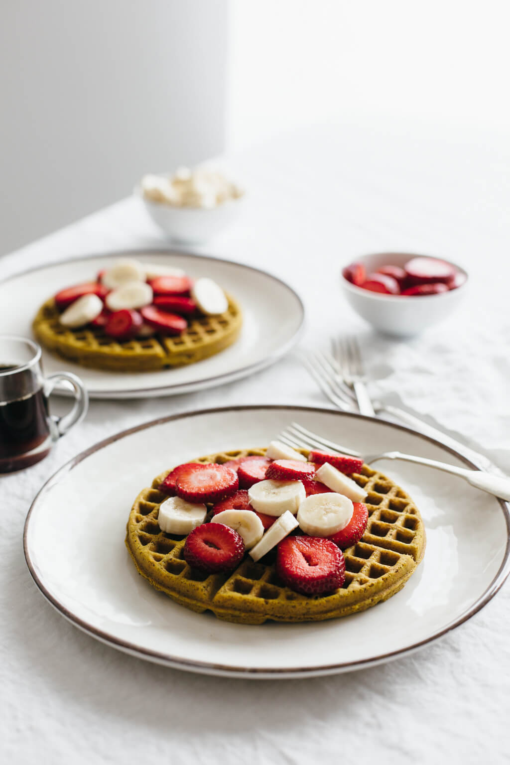 Super seed buckwheat waffles. Gluten-free, dairy-free and vegan.