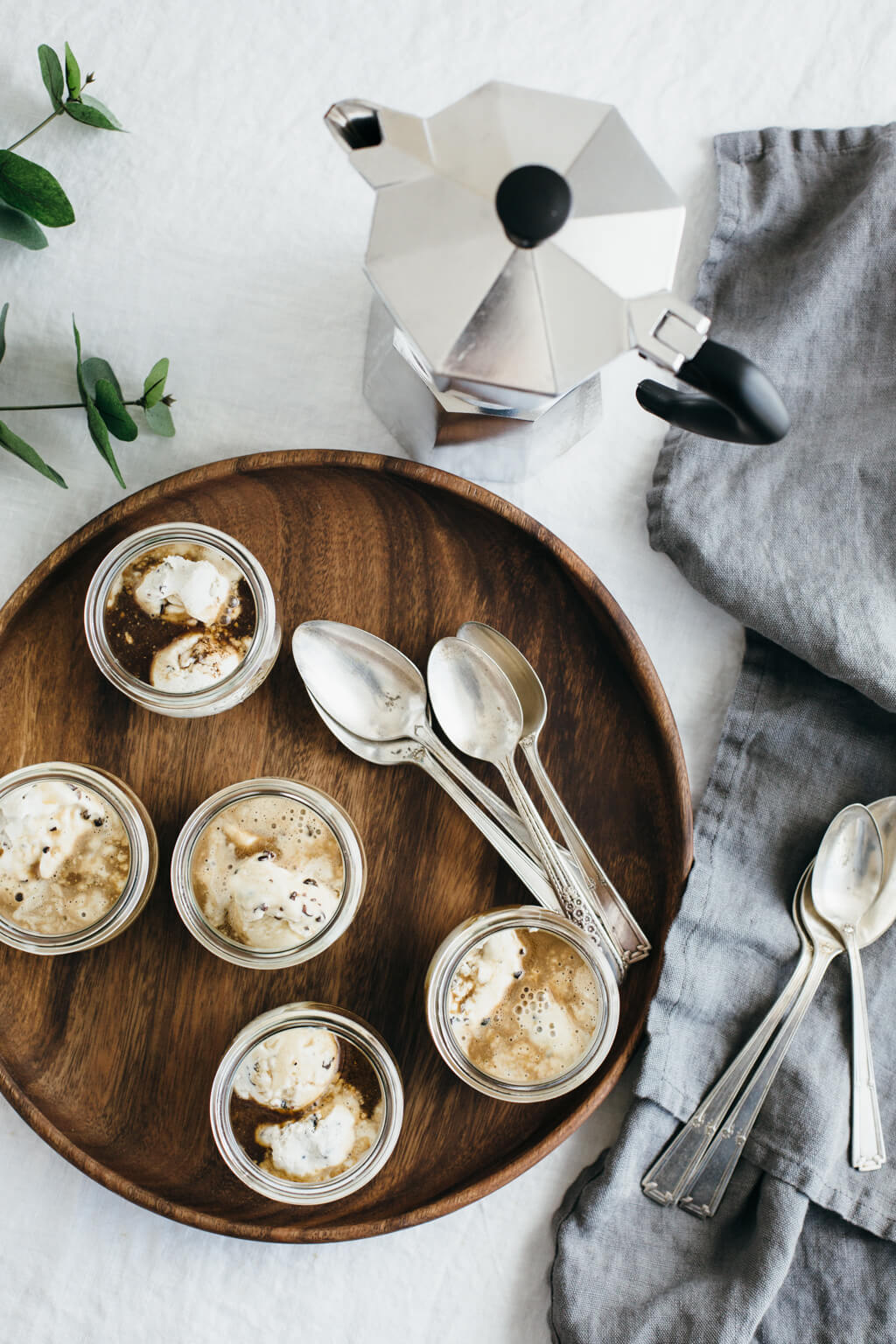 Affogato with cacao nib ice cream. Dairy-free and vegan.