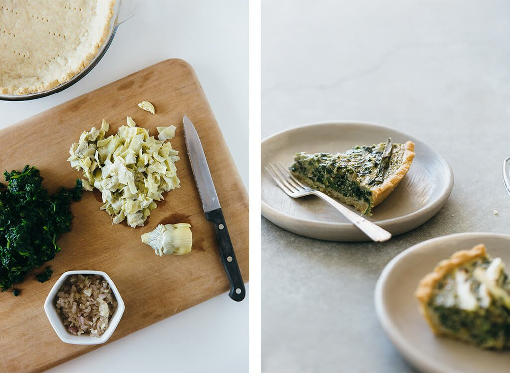 Spinach artichoke quiche with grilled spring onions. Gluten-free, grain-free, dairy-free and paleo-friendly. The perfect healthy breakfast.