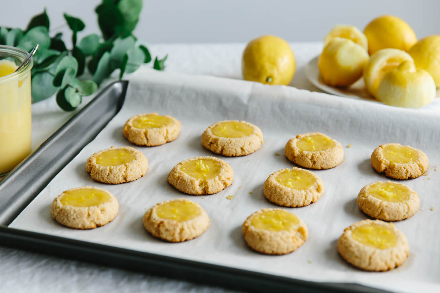 Lemon curd thumbprint cookies. Gluten-free, grain-free and paleo.