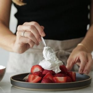 (dairy-free, vegan, paleo) How to make coconut whipped cream. A simple step-by-step video tutorial shows you just how easy it is to make coconut whipped cream.