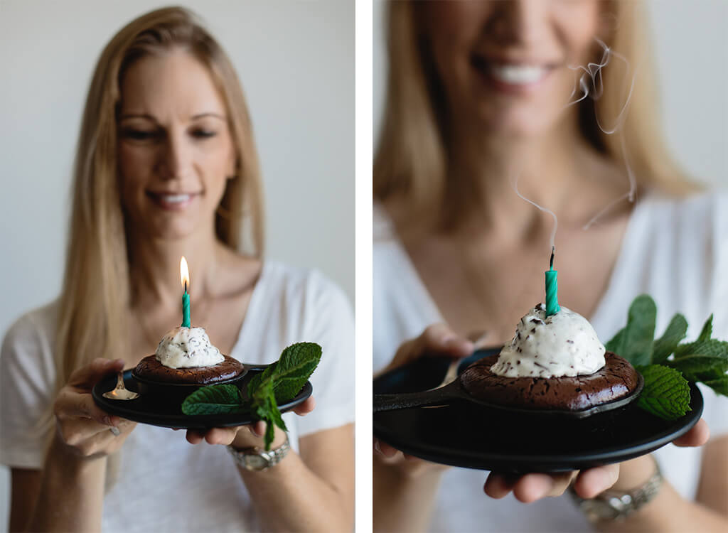 (Gluten-free and Paleo) Mini Skillet Brownies with Fresh Mint Chocolate Chip Ice Cream