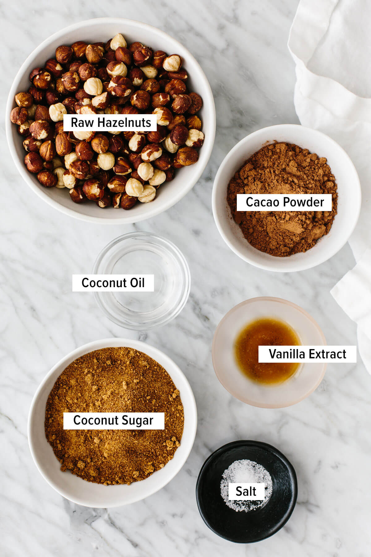 Ingredients for homemade Nutella on a table.