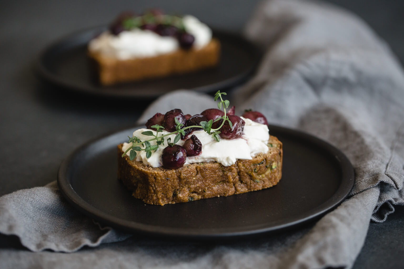 Gluten-Free Zucchini Bread with Burrata and Thyme Roasted Grapes ...