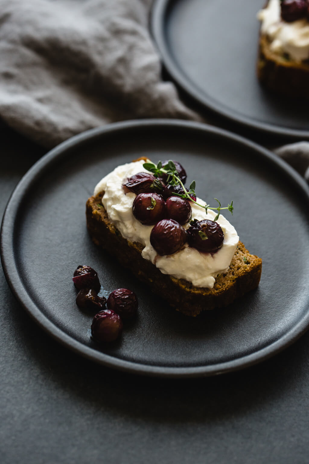 (gluten-free, grain-free) Zucchini Bread with Burrata and Thyme Roasted Grapes