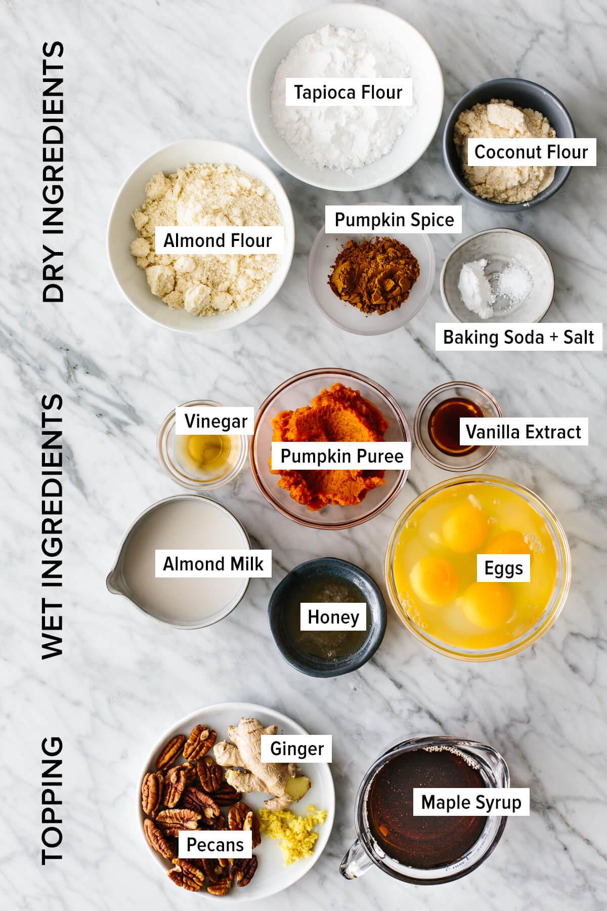 Ingredients to make paleo pumpkin pancakes.