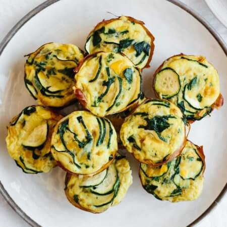 Egg muffins with zucchini and prosciutto make for a healthy, low carb, keto and paleo friendly breakfast egg muffin recipe.