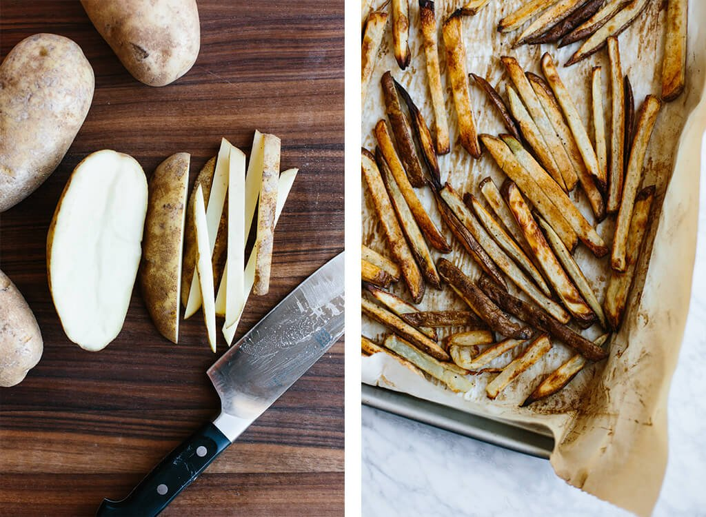 Chopping a potato and baking fries.