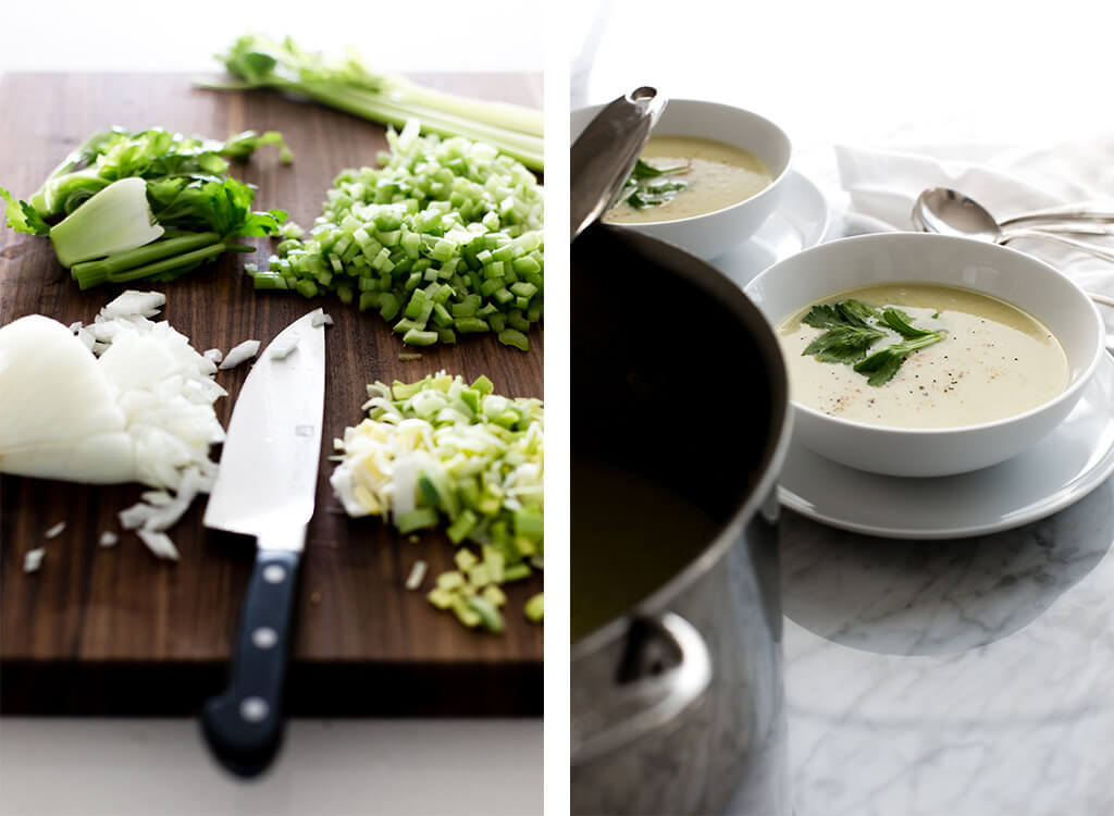 (dairy-free) This cream of celery soup is healthy, light and fresh. It's naturally vegan, gluten-free, dairy-free and paleo.