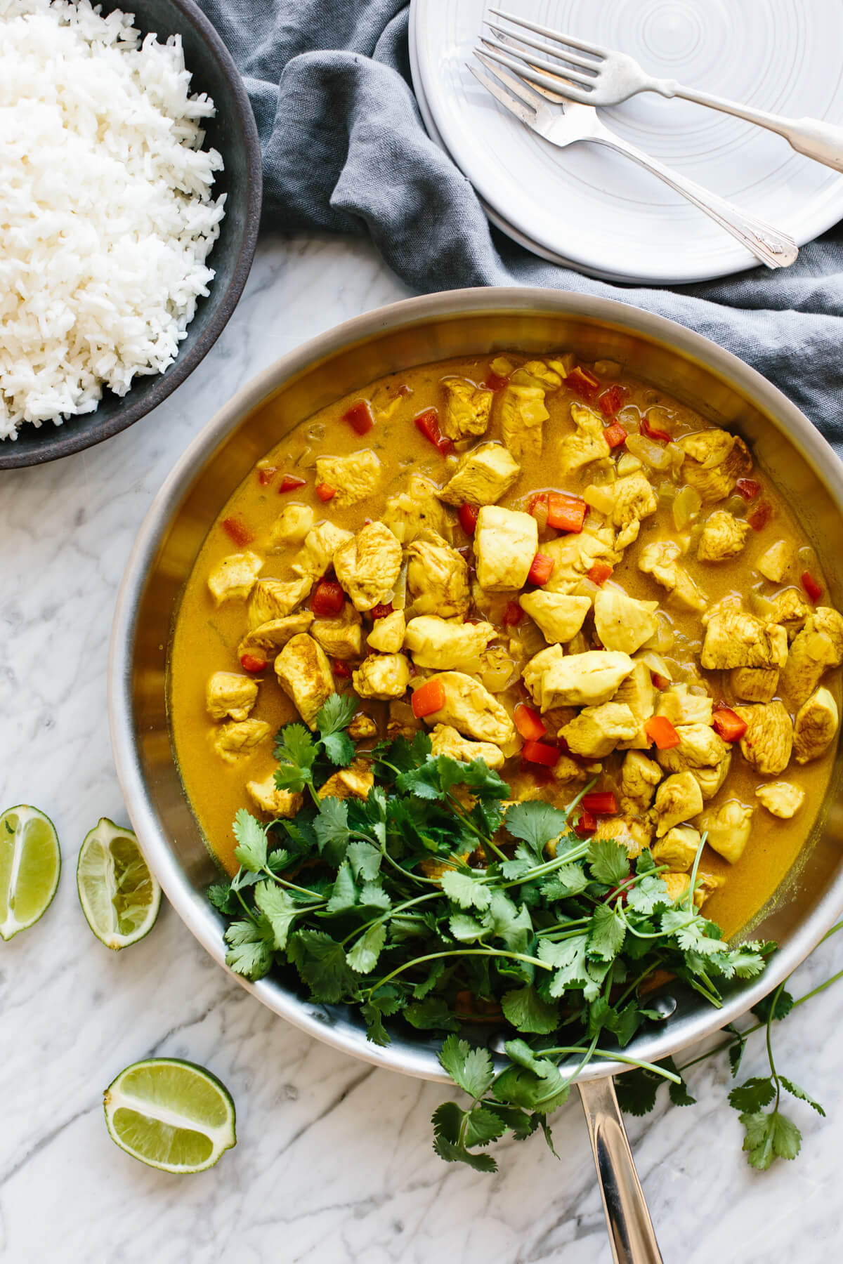 Coconut curry chicken in a pan.