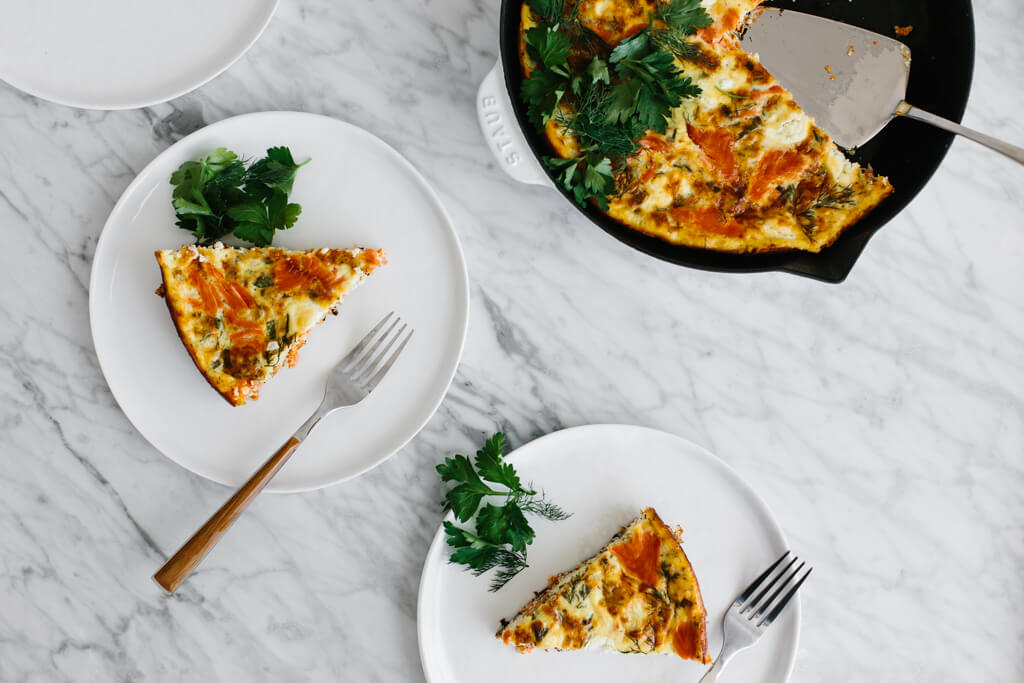 This healthy, smoked salmon frittata is the perfect breakfast (or Sunday brunch recipe). It's naturally gluten-free, paleo-friendly and is sure to impress. It can also be made dairy-free.