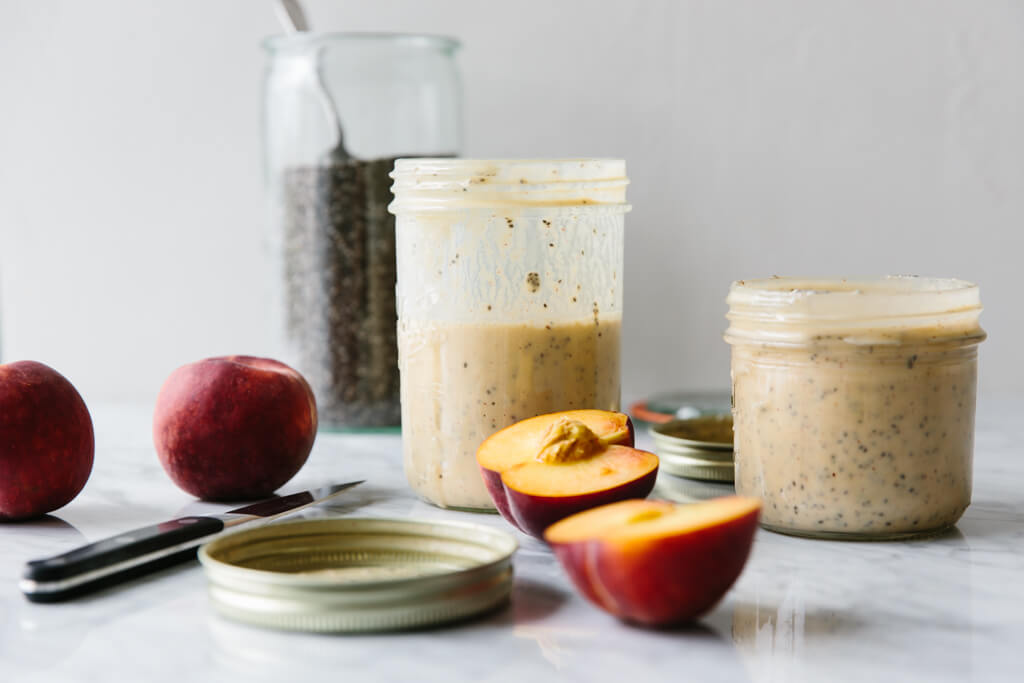 A delicious peach smoothie that makes for a healthy, breakfast smoothie when blended with yogurt and chia seeds. Make this with dairy or dairy-free.