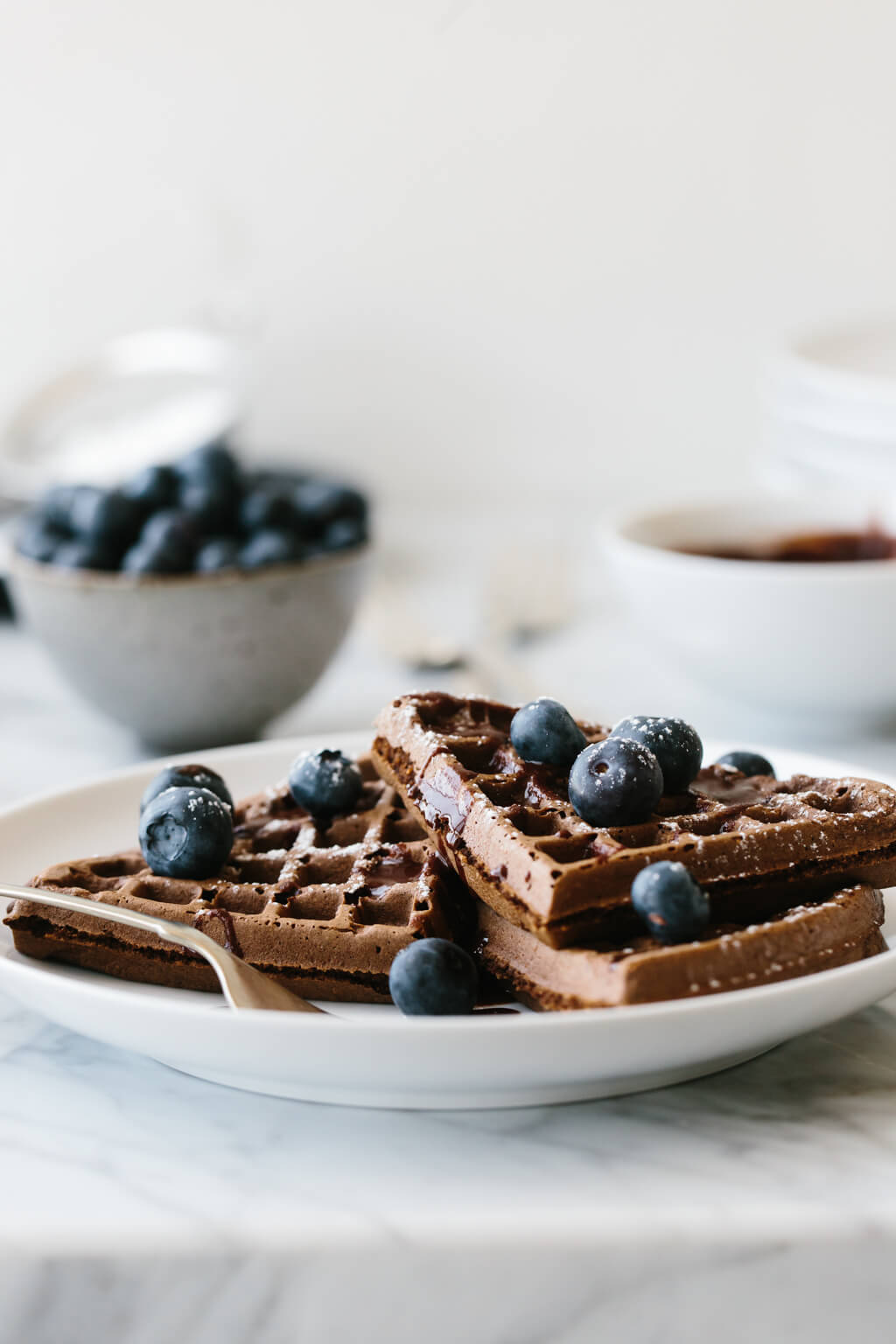 (gluten-free, paleo) These chocolate waffles are utterly delicious and decadent. Made with raw cacao powder they're a family favorite breakfast recipe. Watch the video to learn how to make these paleo waffles.