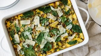 (gluten-free, paleo, whole30). This easy, healthy breakfast casserole is filled with turkey, spinach and artichoke. It's a delicious favorite - make it overnight or ahead of time.