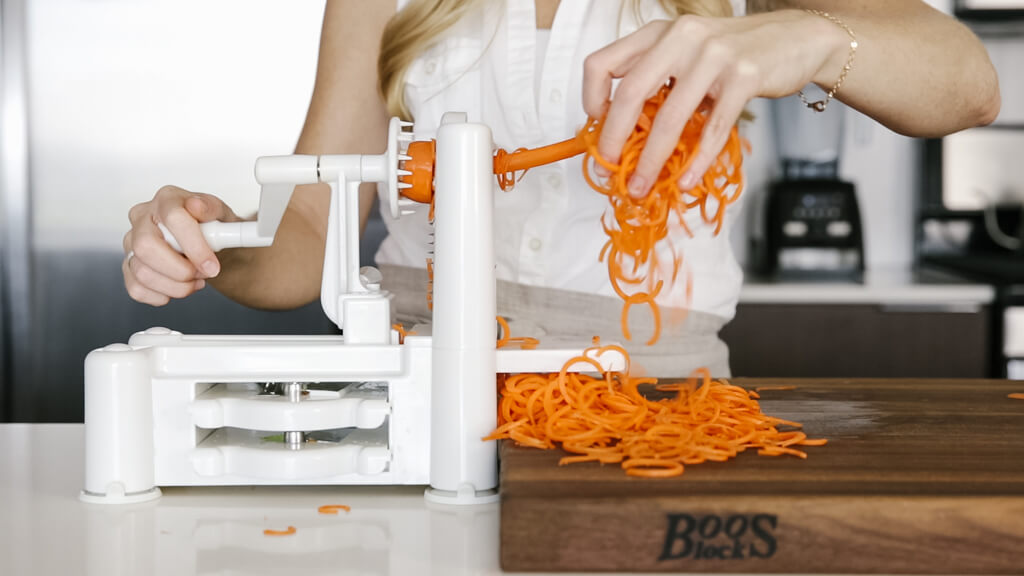 The spiralizer is one of my favorite kitchen tools. So today I'm sharing my favorite vegetables to spiralize along with veggie spiralizer tips and recipes. Learn how to spiralize carrot.