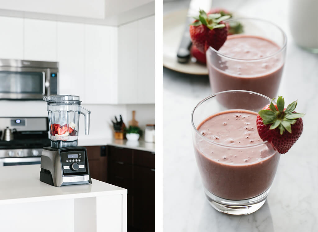 (dairy-free) With only a few ingredients, this simple but delicious acai smoothie comes together quickly. Toss acai, strawberries, banana and nut milk into a blender.