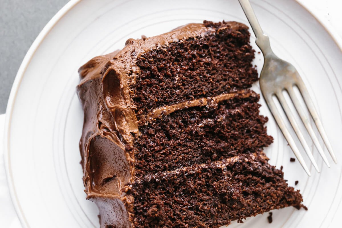 A slice of paleo chocolate cake on a plate with fork.