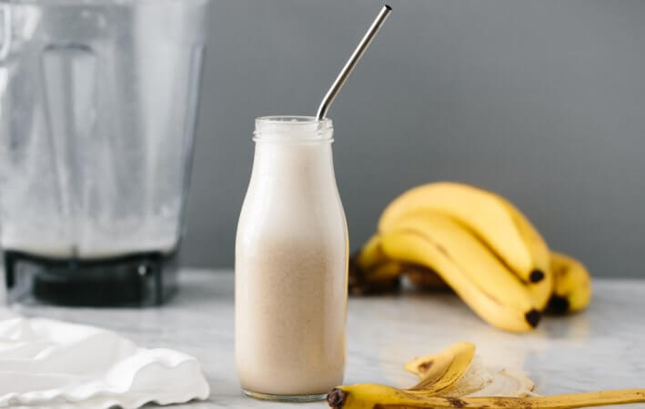 (dairy-free) Banana milk is a delicious nut-free, dairy-free milk alternative. With only two-ingredients it's quick and easy to whip up at home.