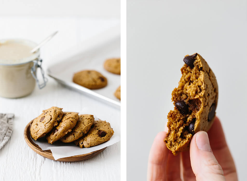 These flourless chocolate chip tahini cookies are gluten-free, nut-free and paleo. They're soft, chewy and utterly delicious. So easy to make! #TahiniCookies #Tahini #TahiniRecipes #ChocolateChipCookies #CookieRecipe #Paleo #GlutenFree #NutFree