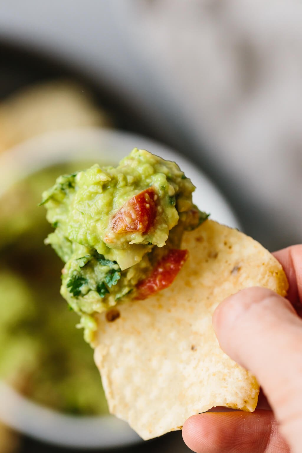 Guacamole on the edge of a chip.