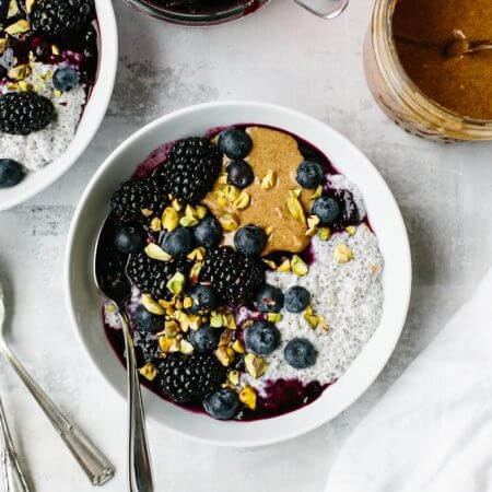 This peanut butter and jelly chia pudding (or almond butter and blueberry puree chia pudding) tastes just like a PB&J sandwich. It's a delicious, healthy breakfast recipe!