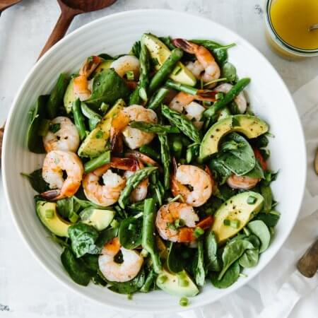 This shrimp, asparagus and avocado salad is utterly delicious and perfect for spring. It's a light, vibrant, creamy, healthy avocado salad.