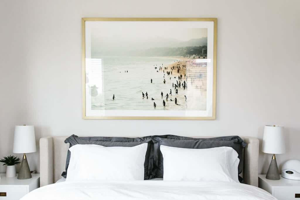 My modern and minimalist bedroom design and decor. My interior design style is a blend of minimalism, mid-century modern, Scandinavian and SoCal vibes.