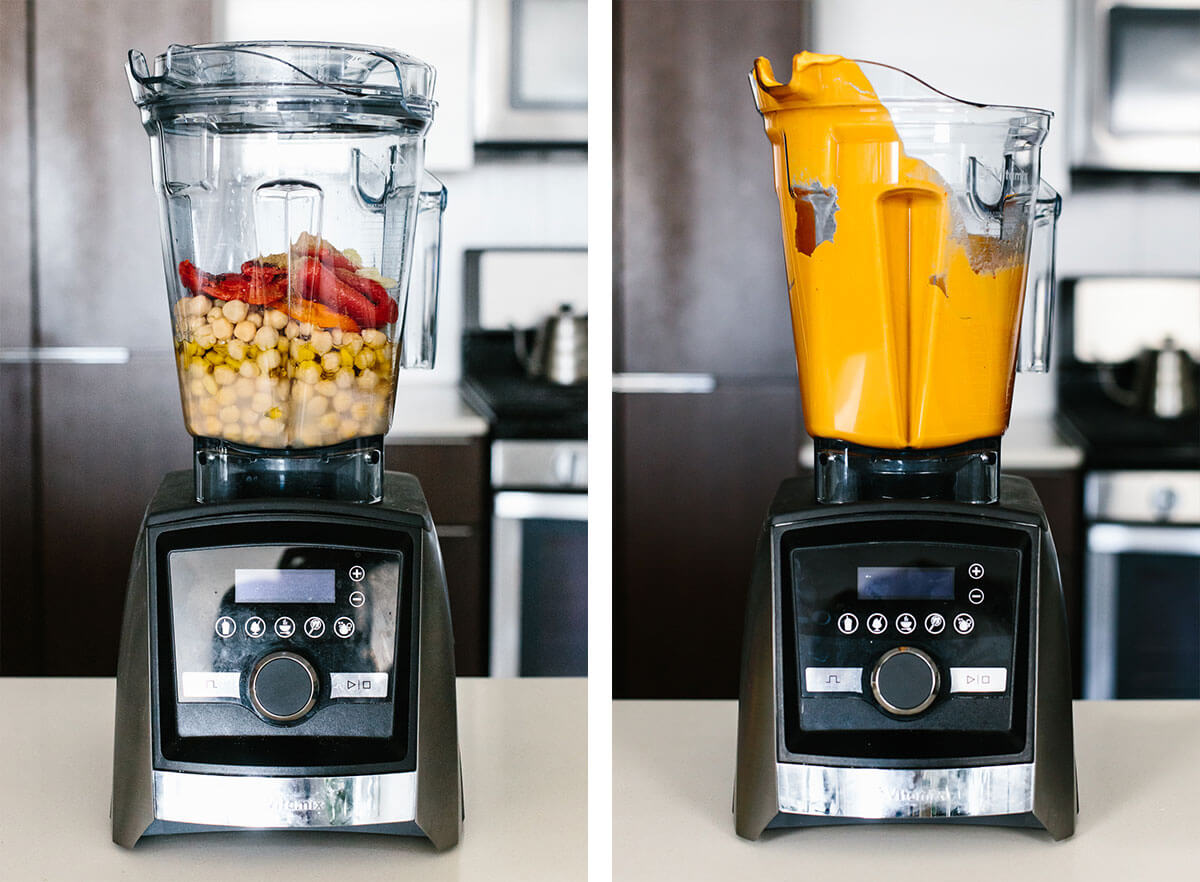 Blending roasted red pepper hummus in a Vitamix