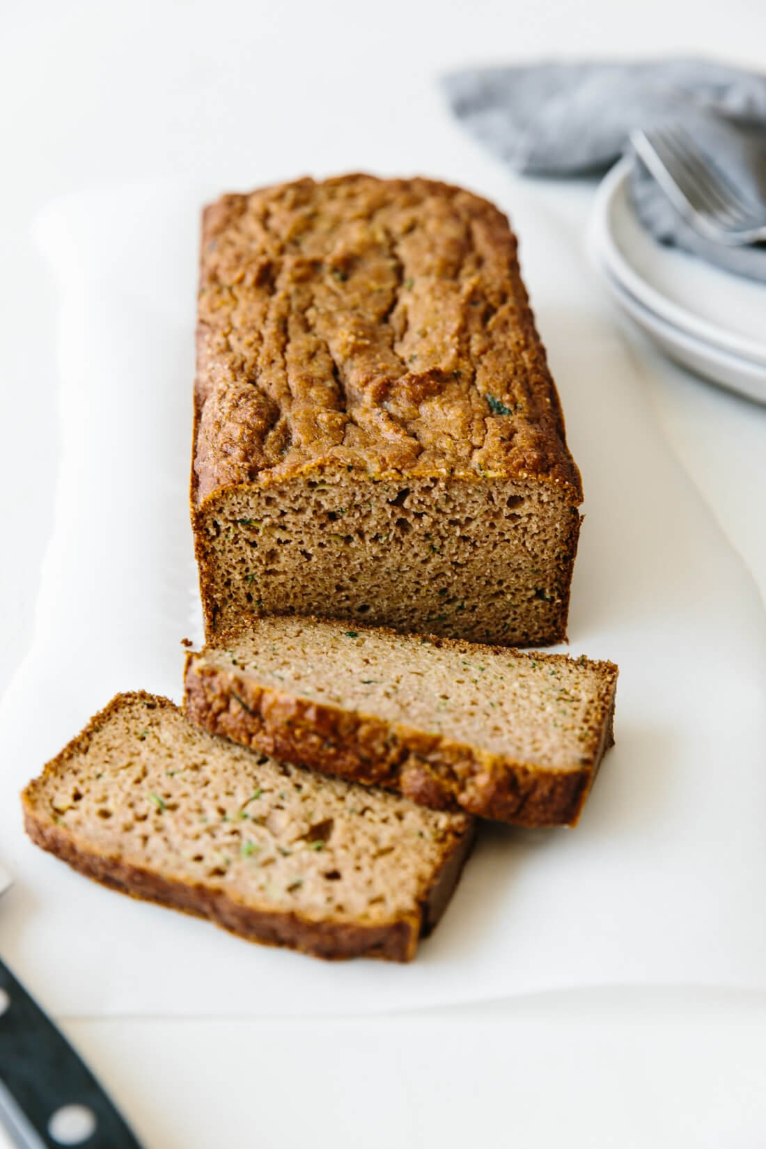 This super moist paleo zucchini bread recipe is made with almond flour, tapioca flour and coconut flour. It's gluten-free, grain-free, dairy-free and extremely delicious.