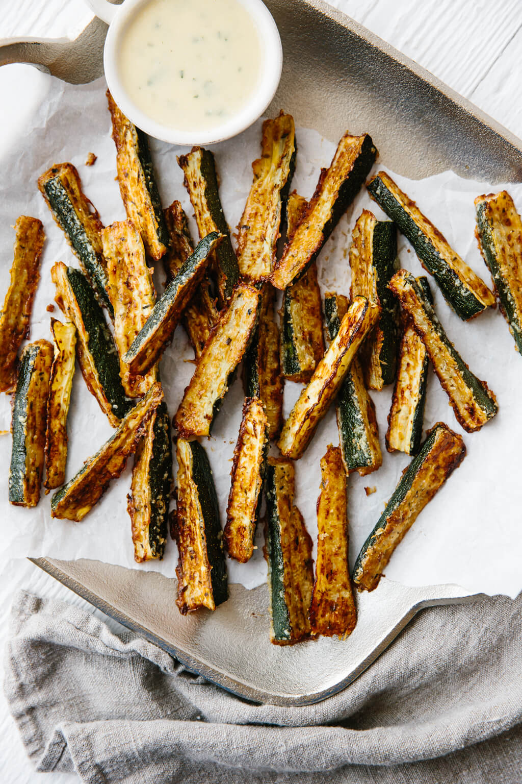 Zucchini fries on a platter.