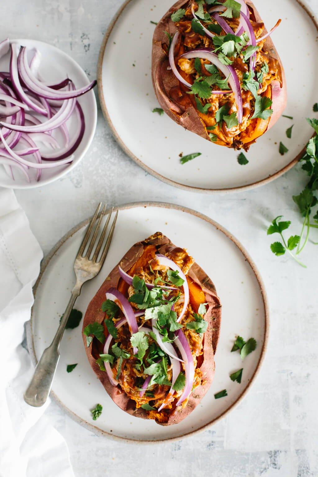 BBQ chicken stuffed sweet potatoes are a healthy, easy, gluten-free, paleo and Whole30 meal.