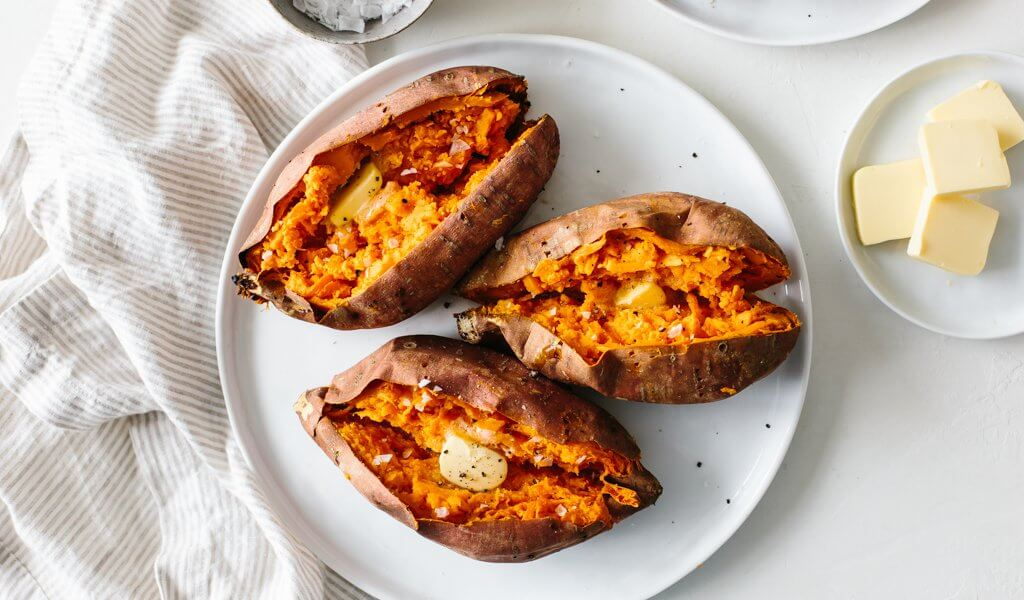 Baked sweet potato is a healthy side dish or main meal. Learn how to bake sweet potatoes in the oven perfectly.