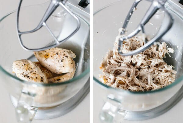 Shredding chicken breasts in a stand mixer.