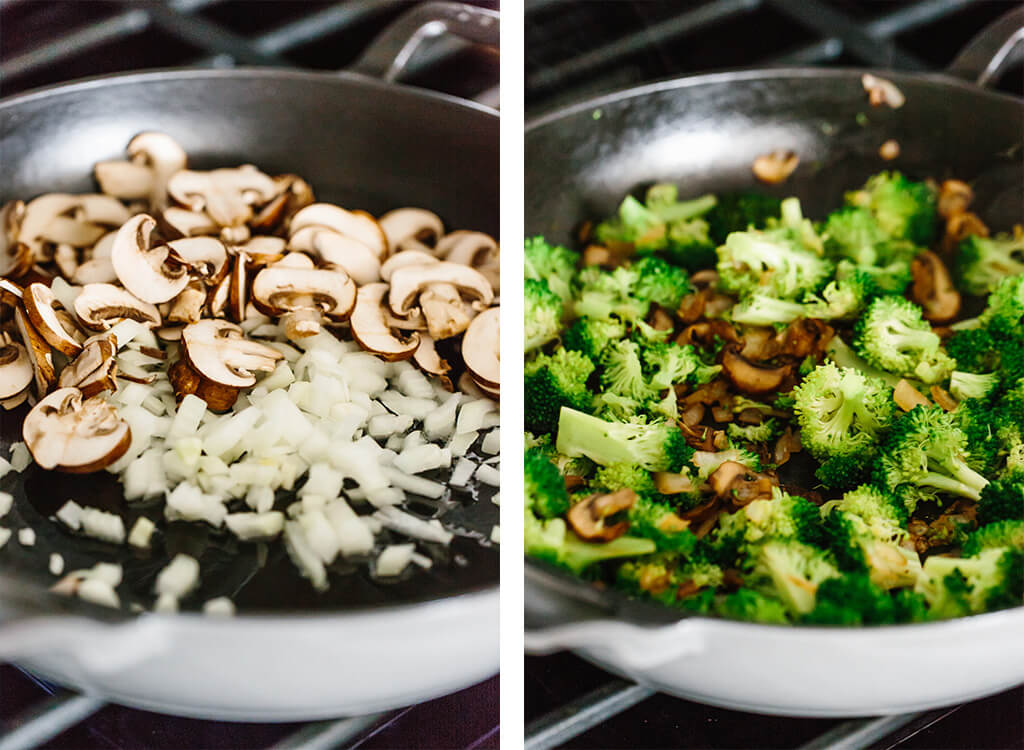 Whole30 casserole recipe with shredded chicken, sautéed mushrooms and broccoli, then topped with my Vegan Alfredo Sauce for an easy and healthy weeknight dinner. It's also a dairy-free and paleo casserole recipe.