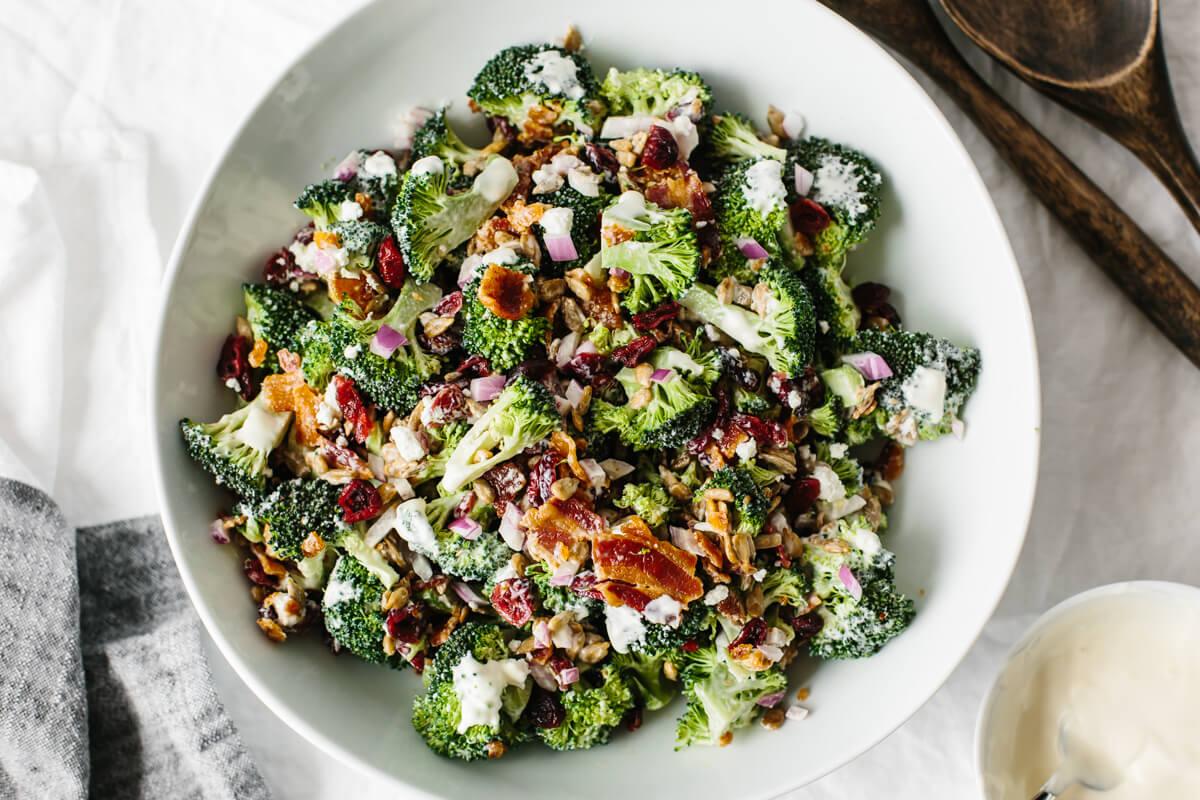 Broccoli salad in a serving bowl.