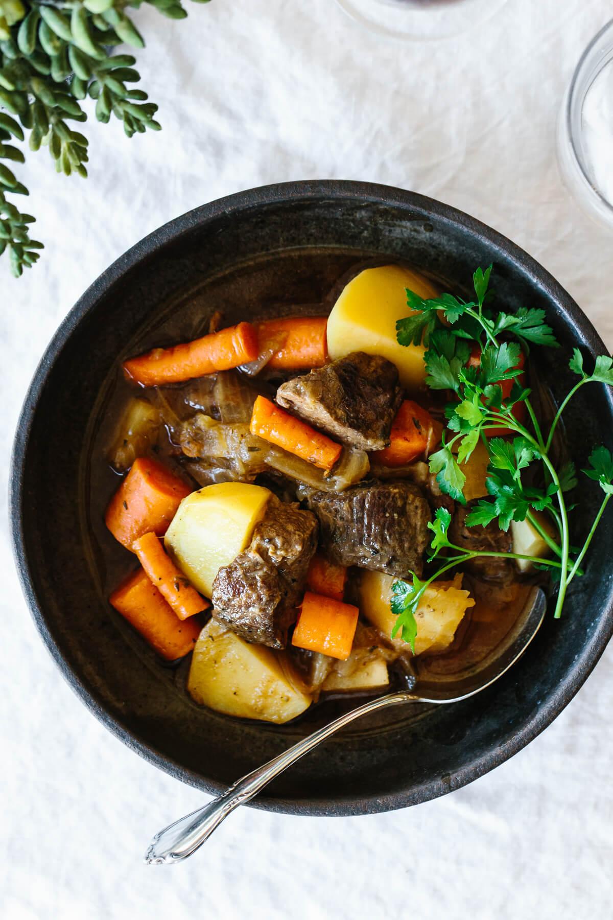 Lamb stew in a bowl.