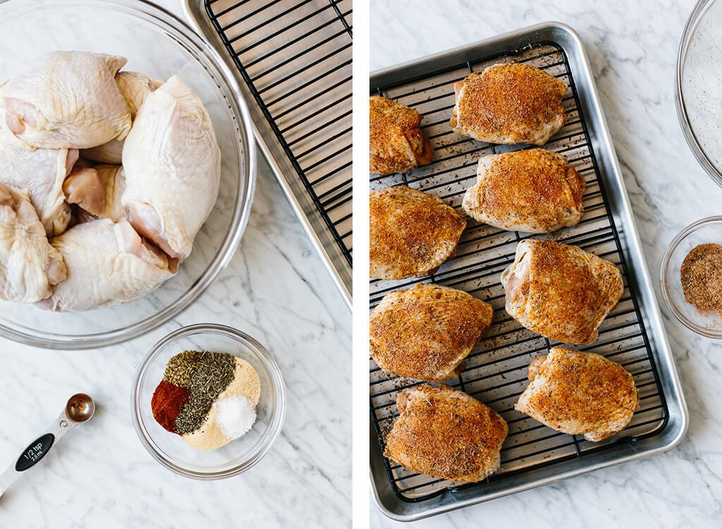 Baked chicken thighs are crispy, juicy, healthy and make for the perfect weeknight recipe!