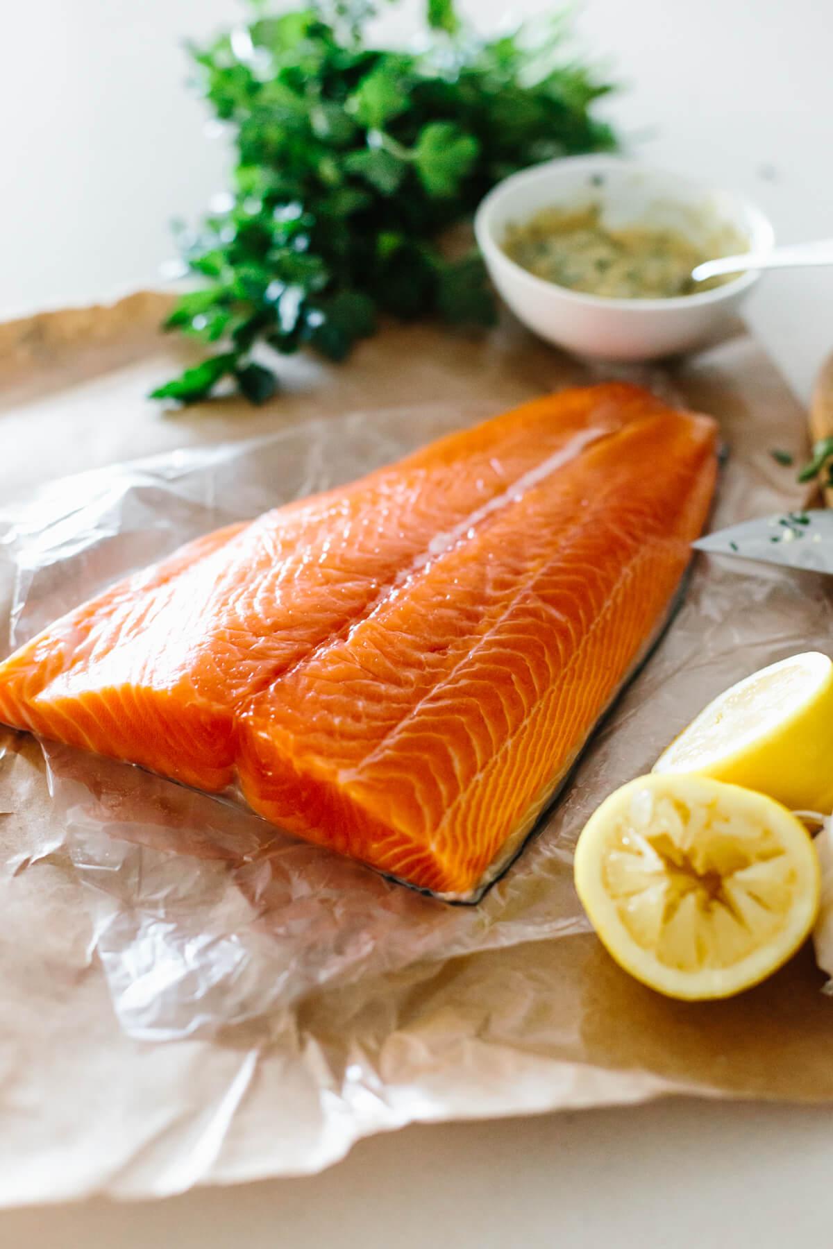 A salmon fillet for dijon baked salmon.