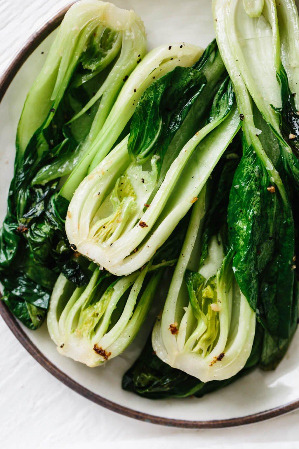 Close up photo of stir fry bok choy.