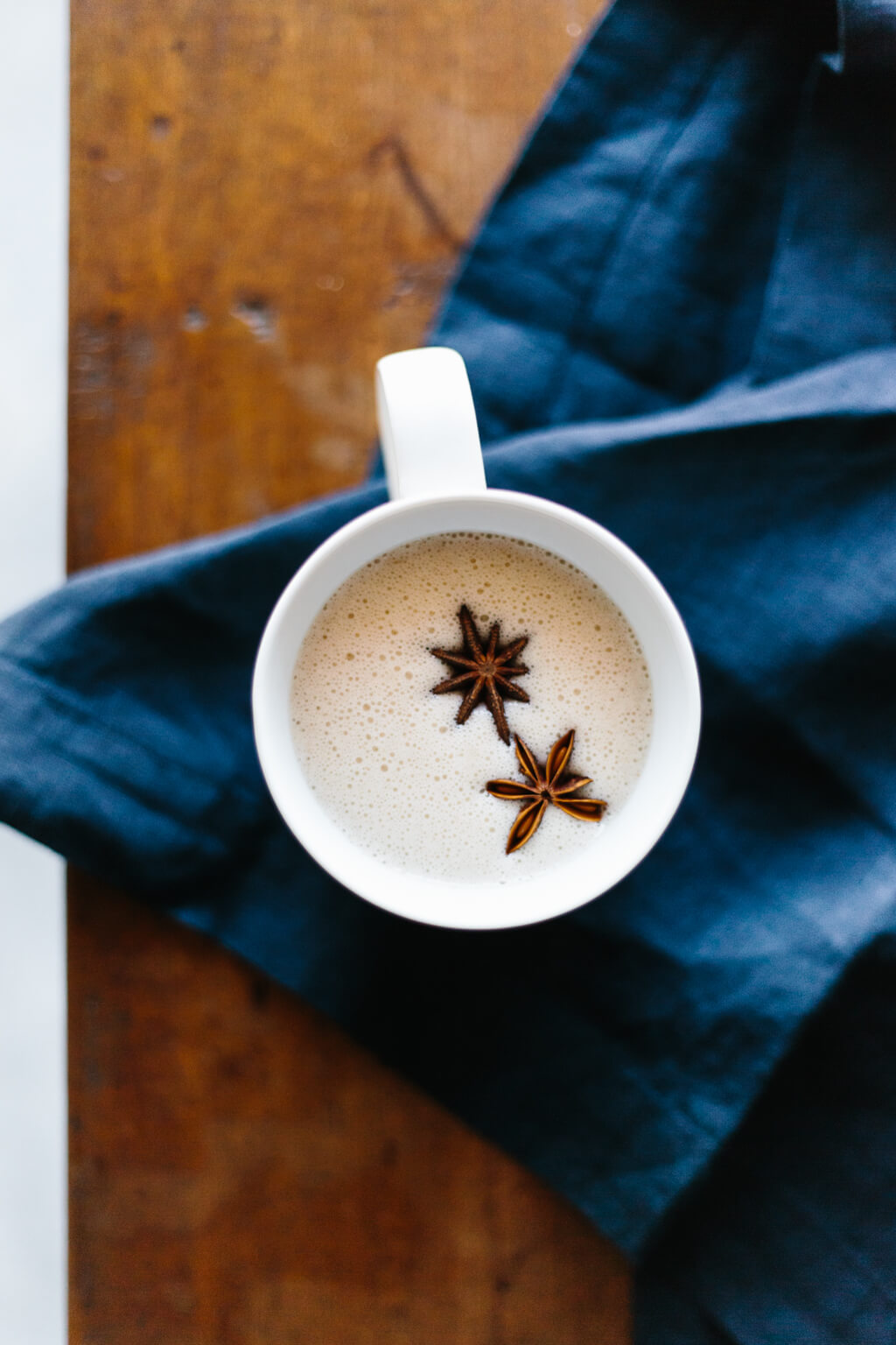 Chai spiced coconut milk made from ginger, turmeric, cinnamon, star anise, vanilla and coconut milk will heat you from the inside out and provide heaps of anti-inflammatory health benefits.