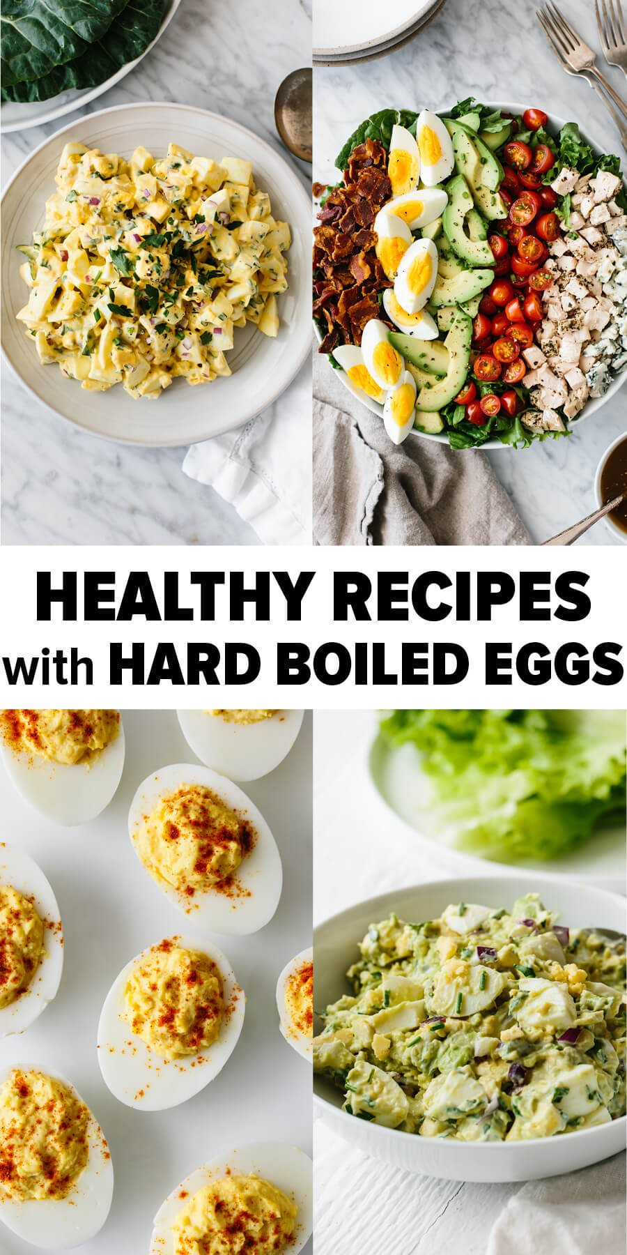 Several recipe photos with hard boiled eggs.