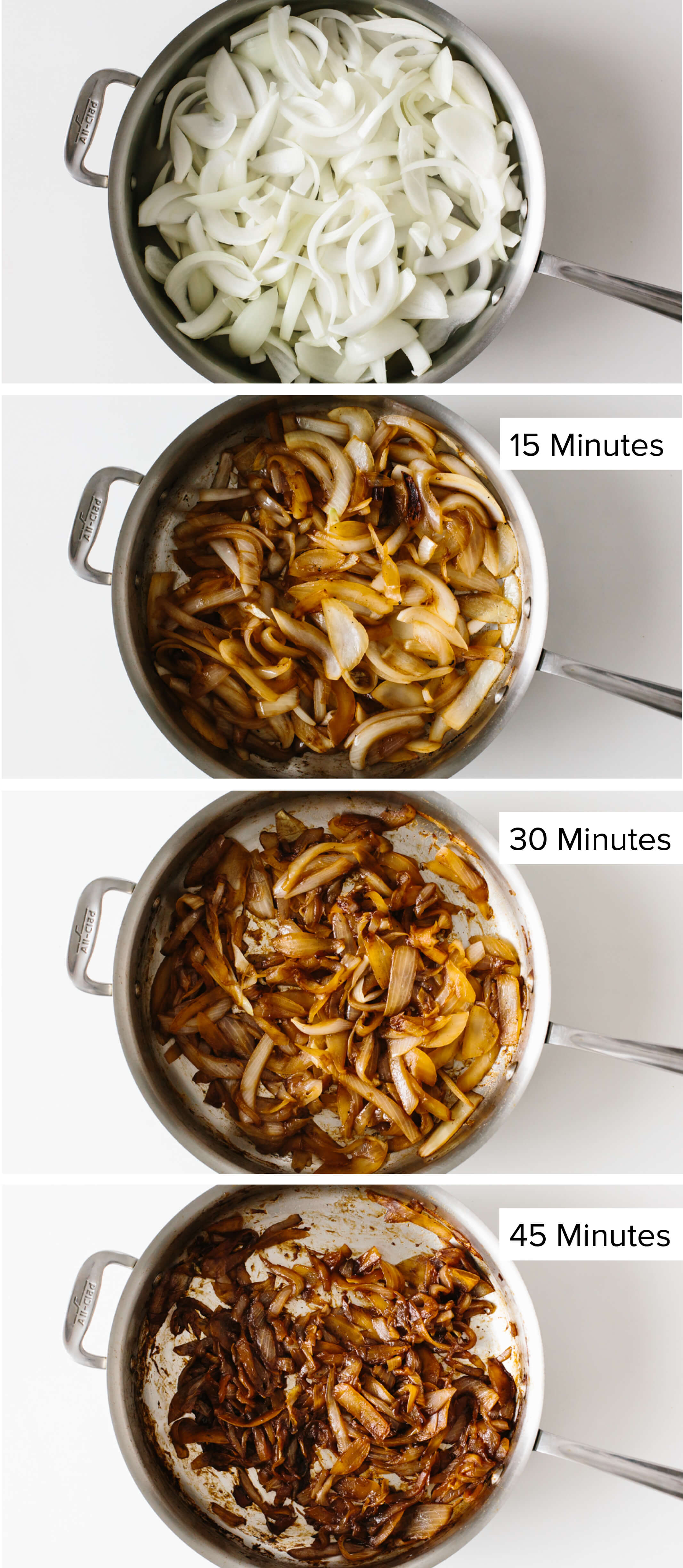 Step by step photos of making caramelized onions.