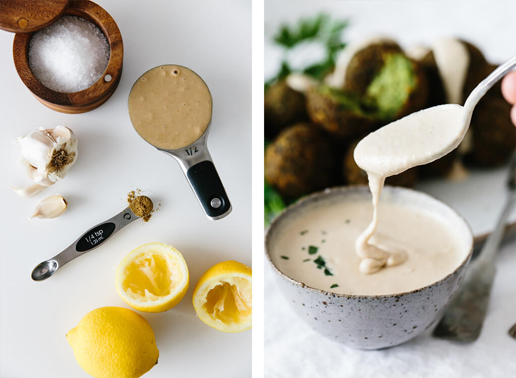The ingredients for tahini sauce on a table.