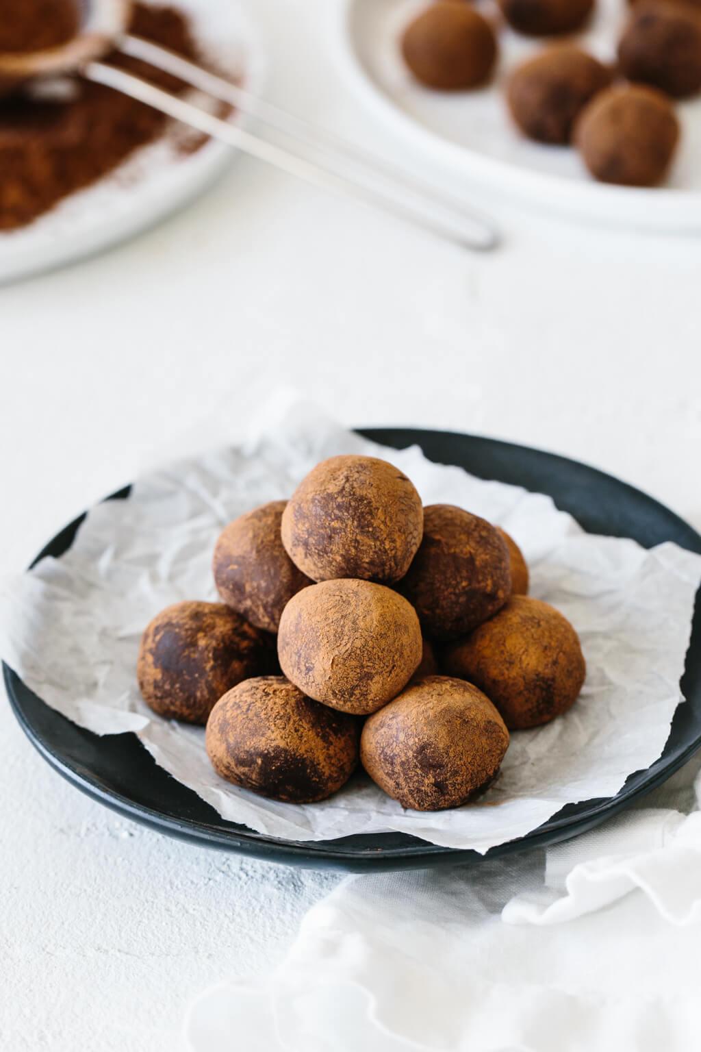 Plate of peppermint truffles.